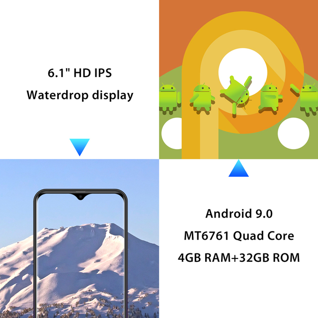 Mobile Phone Android 9.0 6.1″ Waterdrop Screen MTK6761 Quad Core Fingerprint Face ID 4G Smartphone
