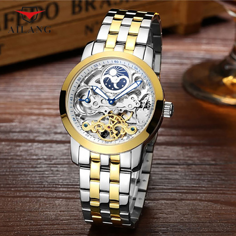 AILANG Brand Male Watch Metal Stainless Steel Stylish Hollowing Skeleton Real leather Elegant Honorable Moon Anti-Cutting A038