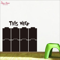 Cette Semaine Tableau Decal, semaine Calendrier Tableau Noir Autocollants, semaine Planificateur Tableau Noir Vinyle Mur Décor-Wtitting Papier Peint