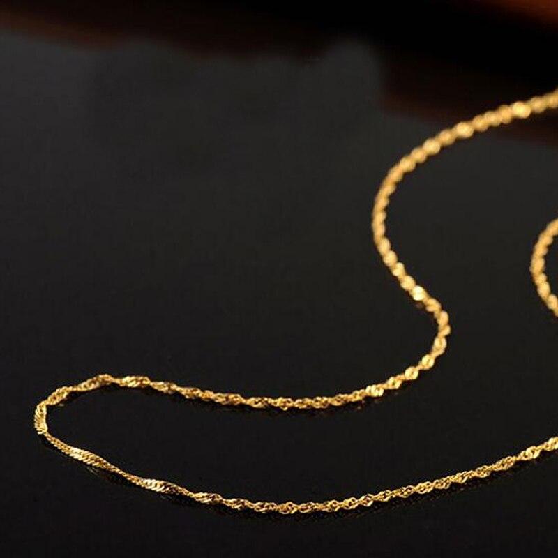 Takı ve Aksesuarları'ten Zincir Kolyeler'de Saf AU750 Altın Kolye Kadın Su Dalgası Zincir Kolye Zinciri 0.7mmW'da  Grup 1