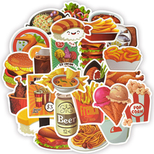 50pcs Food Drink Doodle Sticker Creative Decals For Childrens Toys To Scooter Laptop Suitcase Guitar Skateboard Bicycle