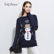 Фотография Self Duna 2017 Autumn Winter Women Christmas Steater Pullover Warm Soft Navy Grey Loose Casual Female Knitted Jumper Pull Femme