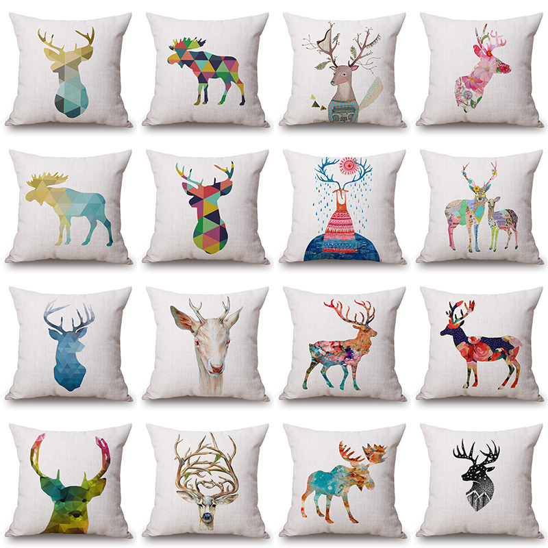 varicolored Deer Animal Printed Cotton Linen Cushion Cover Decorative Pillowcase Use For ...