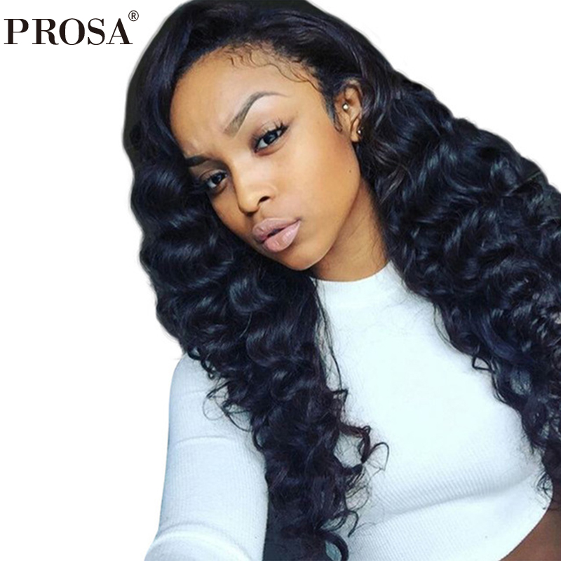 Glueless Full Lace Wigs Loose Wave150% Density Brazilian Pre Plucked Full Lace Human Hair Wigs With Baby Hair Remy Prosa