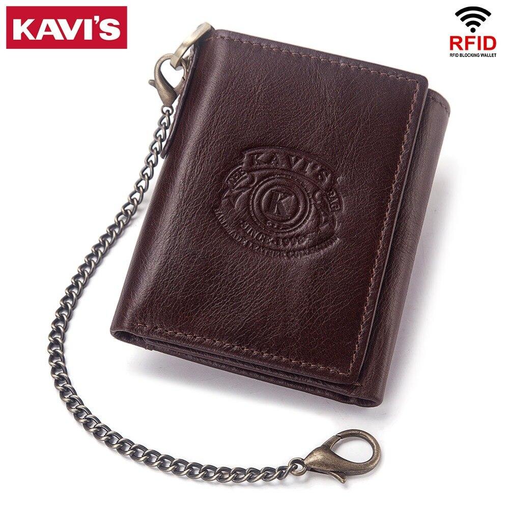 KAVIS Rfid 100% Genuine Leather Wallet Men Male Portomonee Coin Purse Pocket Slim Short Tri-fold Card Holder Small with Chain wallet