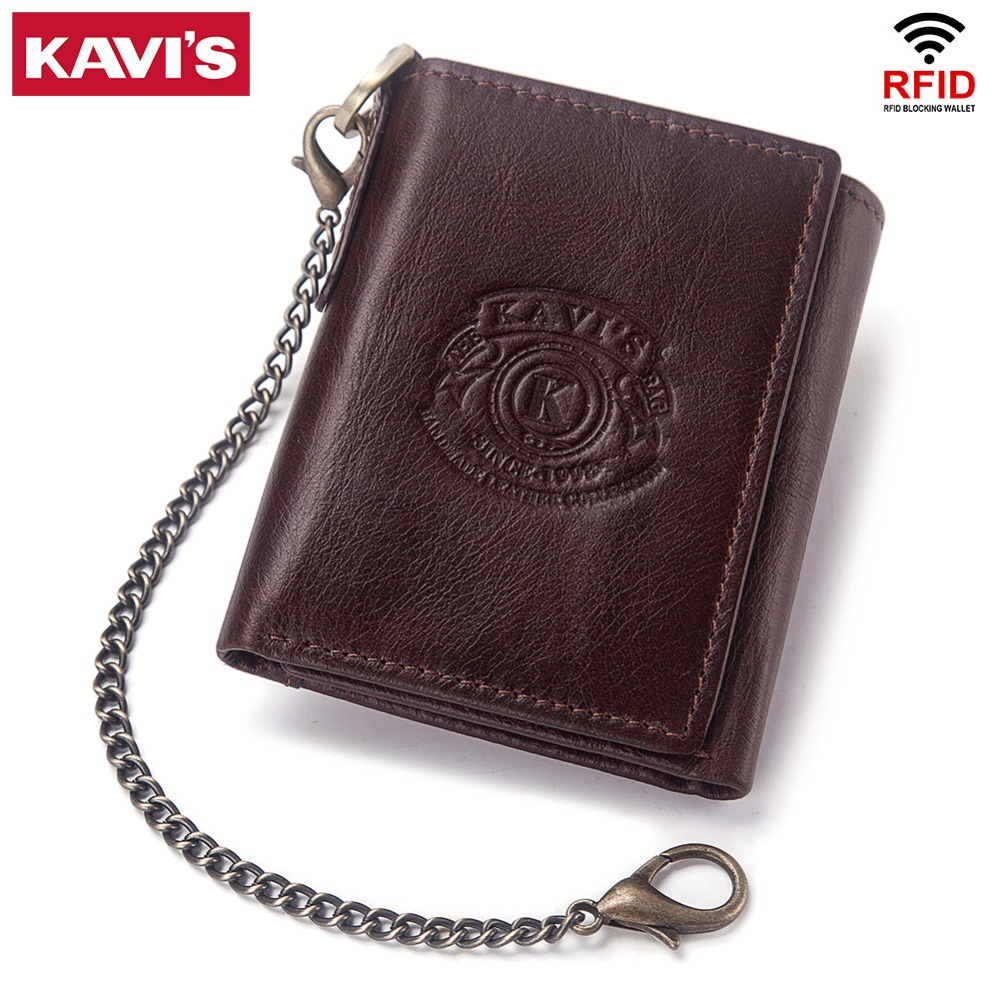 KAVIS Rfid 100% Genuine Leather Wallet Men Male Portomonee Coin Purse Pocket Slim Short Tri-fold Card Holder Small With Chain