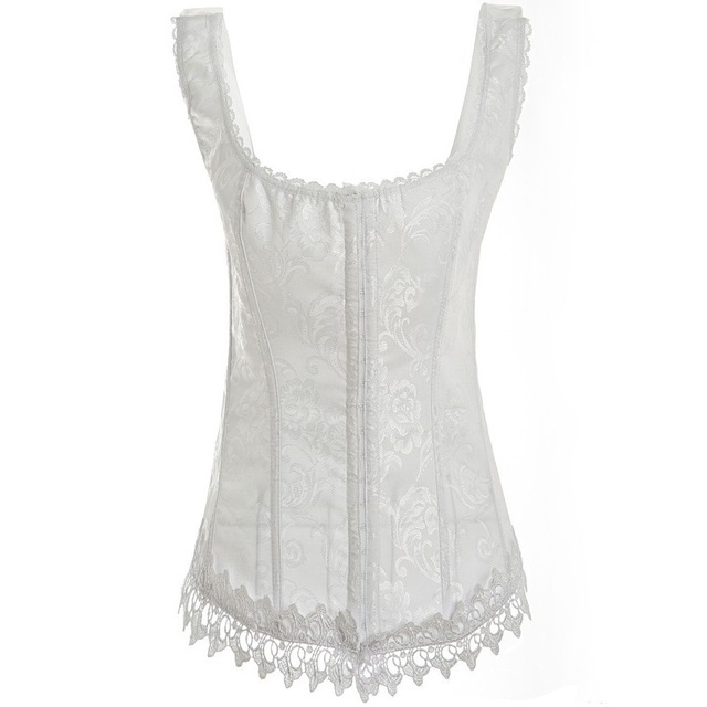 overbust  White Corsets and Bustiers Open Floral Lace White Corset Bustier Tops Gothic CorpetesSexy For Women