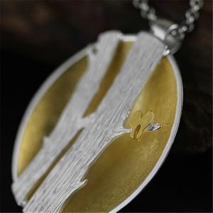 Image 2 - Lotus Fun pendentif en argent Sterling 925, bijou fin fait à la main, Design doiseaux sur Branches, pendentif sans collier pour femmes