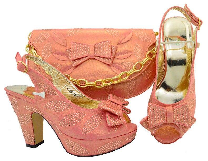Элегантный персик высокий каблук туфли-лодочки совершенные mathing с сумочкой комплект для вечерние M005, высота каблука 10.5 см
