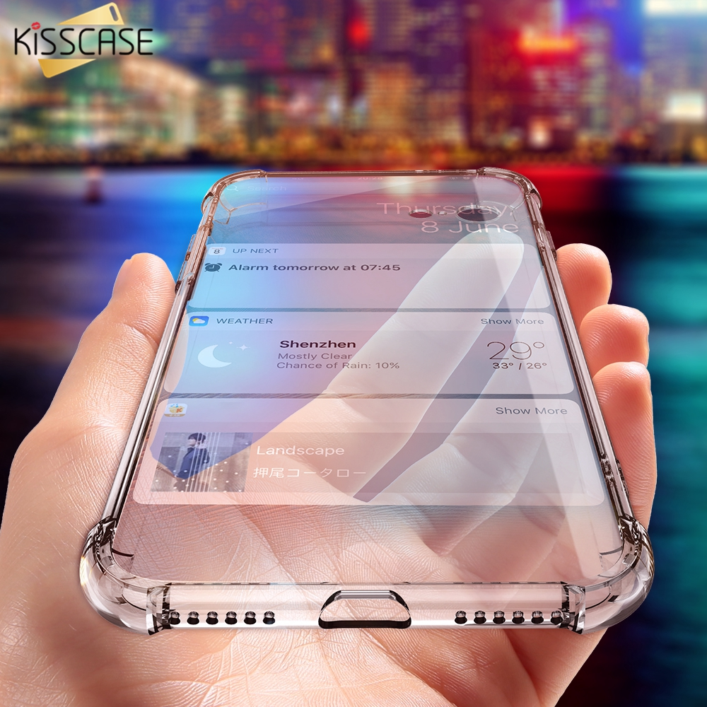 KISSCASE Case For iPhone X 6 6S Plus Cover For iPhone 8 7 6 Plus 5S 5 Clear Anti-knock Soft Silicone Case Transparent Shockproof