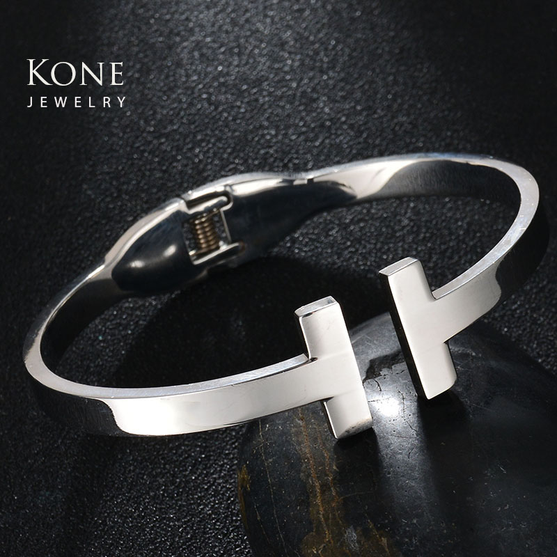 Famous Brand Charms Open Cuff H Letter Stainless Steel Bracelets For Women Mother Daily Jewelry Gift Drop Ship