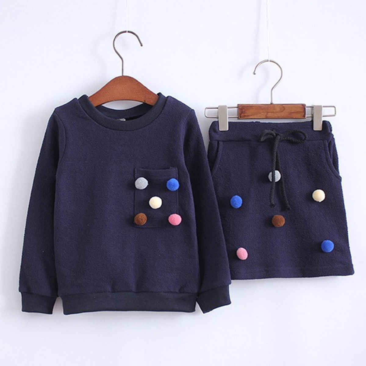 New Fashion Toddler Baby Girls Clothes Sets 2PCS Long Sleeve Solid With Balls Sweatshirts Tops +Mini Skirts Sets 1-6Y
