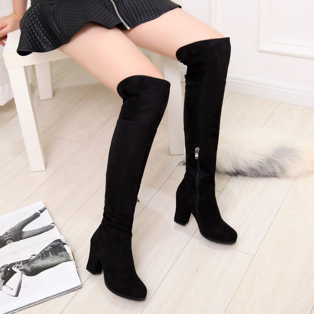 Huachen Free shipping over the knee high long boots women snow ...
