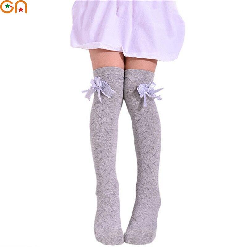 3-12 Jahre Frühjahr/sommer Kinder Baby Mädchen Baumwolle Net Garn Bogen Grid Mode Prinzessin Socken Kind Feste Farbe Wilden Knie Socken Cn