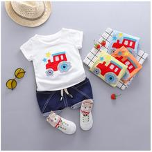 цена на 2019 Summer Baby Boys  Girls Clothing Sets Infant Toddler Clothes Suits Cartoon  T Shirt  Shorts Kids Children Casual Suit
