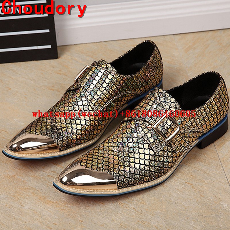Choudory Choudory Men Shoes Luxury Brand Loafers Sequined Gold Metal Dress Shoes Men Leather Luxury Party Pointed Toe Size12 choudory new winter men ankle italian shoes men leather shoes pointed toe mens black dress shoes sequined toe spiked loafers men