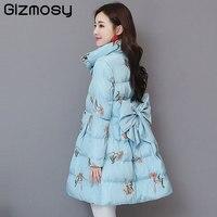 Winter Coat Women Down Cotton Medium Long Jacket Parka Famale Floral Print Stand Collar Big Hem Plus Size Warm Outwear BN5731