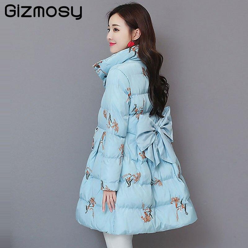 Winter Coat Women Down Cotton Medium-Long Jacket   Parka   Famale Floral Print Stand Collar Big Hem Plus Size Warm Outwear BN5731