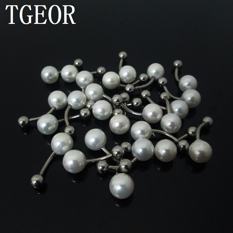 1 Pair 1.6*10*5/8mm Fashion Charm pearl belly bars Stainless Steel pearl navel belly button ring free shipping