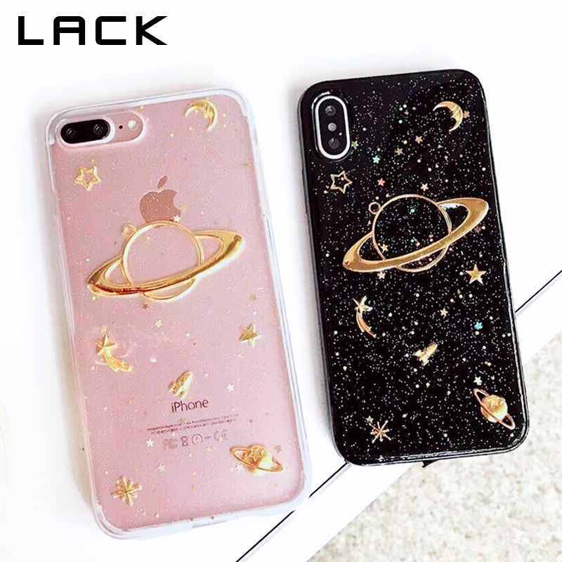 LACK Bling Planet Moon Star Phone Case For iphone X Case For iphone 6 6S 7 8 Plus Cover Fashion Glitter Shining Cartoon Cases