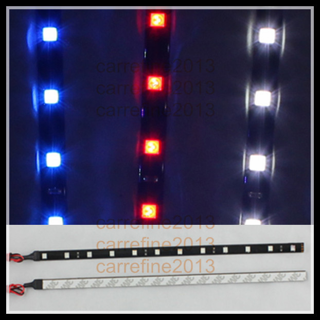2pcs/lot 30cm flexible led strip for vw 12 smd 5050 White Red Blue Green waterproof car led strip for AUDI R8 Q7 Q5 Q3 TT 5050 led light strip 10mm connectors white black red 2 pcs