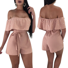 New Arrival Women Pearl Jumpsuit Sleeveless Off Shoulder Ladies Summer Playsuit Party Club Wear
