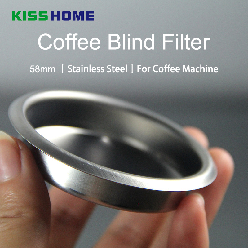 58MM Coffee Machine Blank Filter Stainless Steel Backwash Cleaning Blind Bowl 50mm Silicone Sheet Coffee Machine Accessories