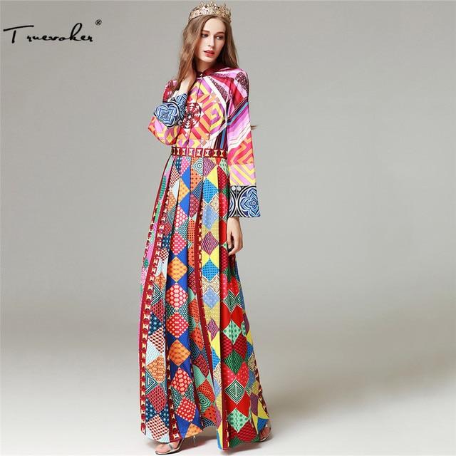 Truevoker Designer Autumn Long Dress Women High Quality Full Sleeve  Multicolor Ethnic Geometric Printed Draped Maxi Vestido e05cf085d01e