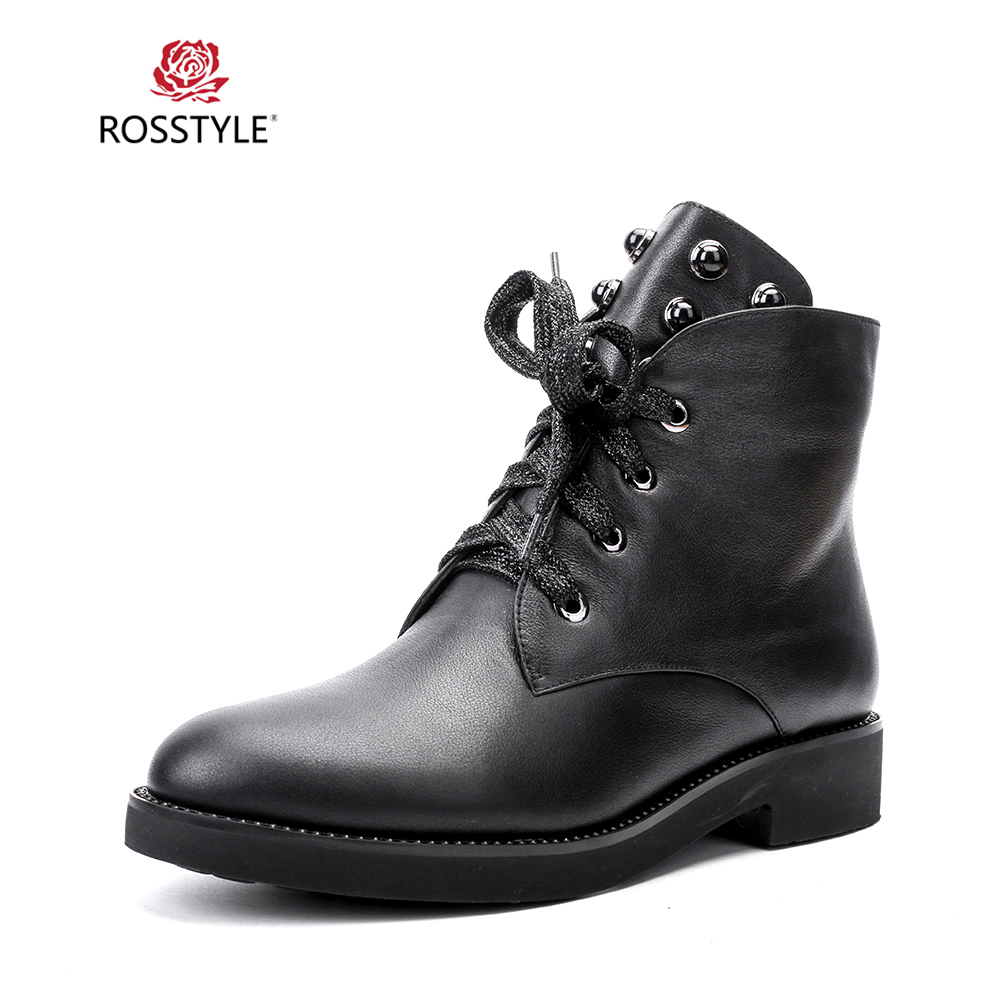ROSSTYLE Fashion Woman Winter Ankle Boots Handmade Quality Genuine Leather Retro Round Toe Shoes Square Heel Soft Lady Boots B90