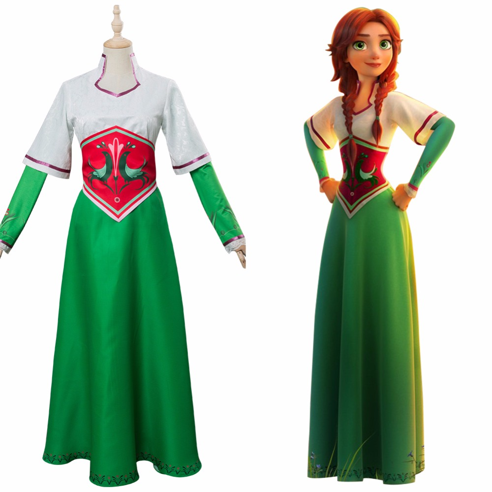 The Stolen Princess Mila Cosplay Costume Dress Green Gown Uniform Halloween Carnival Costume Princess Dress for Women Girls
