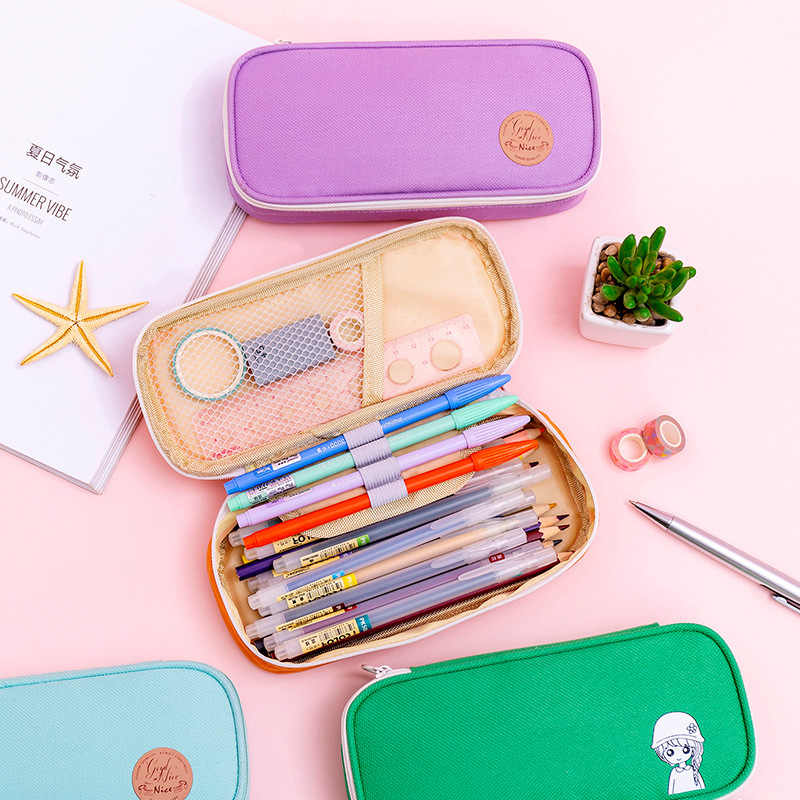 かわいいビッグ鉛筆ケースジッパー大容量かわいい筆箱ポータブル収納袋学用品多機能文具箱