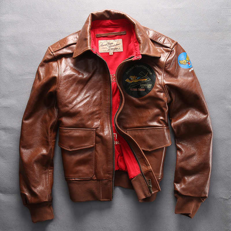 11be8647192 2018 A2 Air Force Avirex fly Jacket genuine Leather jacket men real cowskin bomber  Jacket Men s