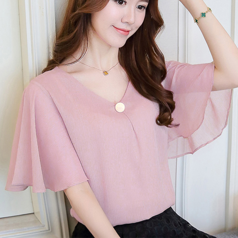 Summer time Horny Plus Measurement Ruffle Chiffon Shirt Girls Shirts Free Batwing Sleeve Girls Deep V Tops Pink Blusas Mujer Clothes 2019 Blouses & Shirts, Low-cost Blouses & Shirts,...