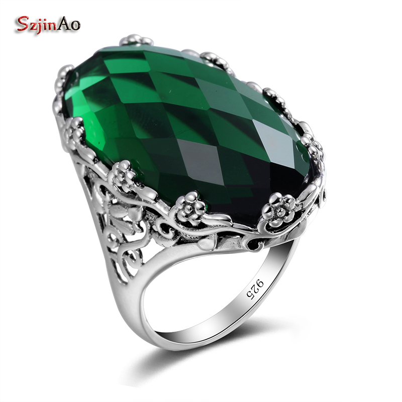 Szjinao Emerald Rings For Women Oval Punk 925 Silver Ring Big Gemstone Vintage Viking Elements Green Female Fine Jewelry
