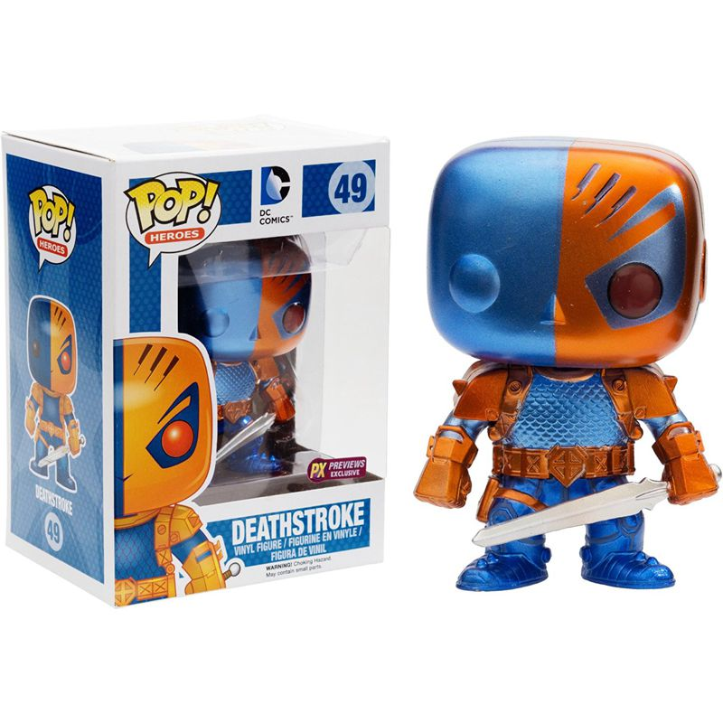 Exclusive Funko Pop Official DC Comics Batman - Deathstroke New 52 Metallic Vinyl Action Figure Collectible Model Toy  funko pop games illidan 14 pvc action figure collectible model toy 4 10cm kt2242