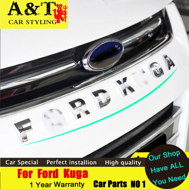 A&T car styling For Ford Kuga Escape Front car Letters trim 2013-2015 For Kuga Front car stickers Letter word strip Car Accessor free shipping automobile label car stickers for great wall changcheng front windshield stickers for front window