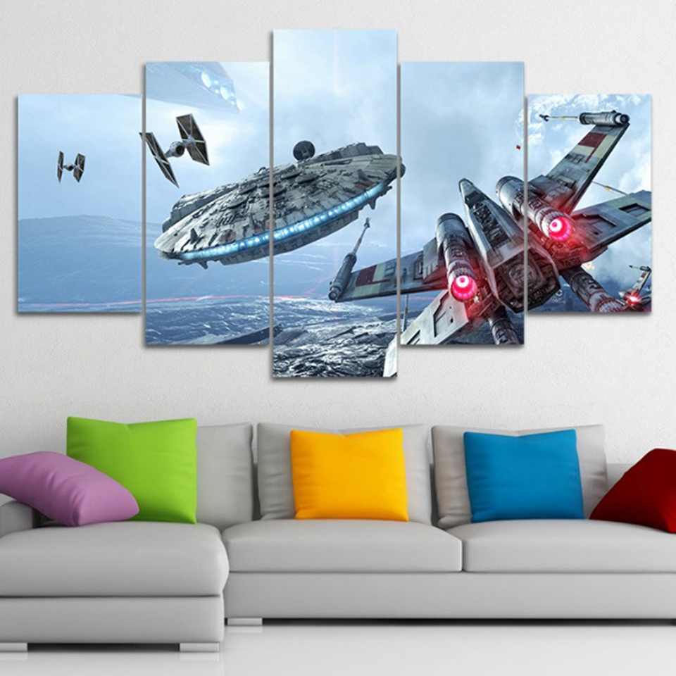 Canvas Modern HD Printed Wall Art Pictures Frame 5 Pieces Millennium Falcon X-Wing Movie Star Wars Paintings Home Decor Posters image