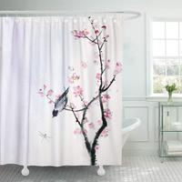 Shower Curtains Bathroom Curtain Watercolor Chinese Small Bird on Branch of Sakura Pink Cherry Tree Asian Summer Beauty bath