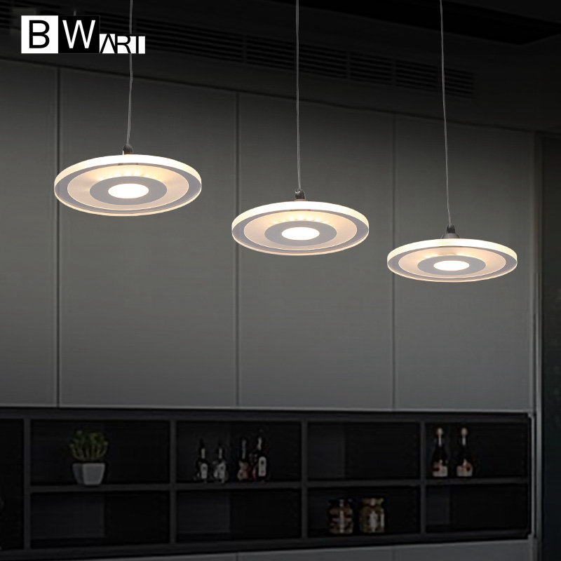 BWART Modern Suspended pendant light for restaurant dining room decorative hanging lamp fixture LED acrylic lights luminaire modern led crystal chandelier light fixture for living room dining room decorative hanging lamp diamond 3 rings chandeliers