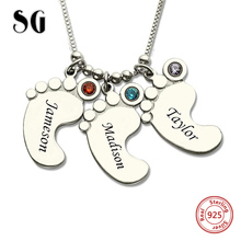 купить Hot 100% 925 Sterling Silver Personalized Mothers Necklace Baby Feet Name Necklace with Birthstone Custom Jewelry Gift For Mom по цене 1449.93 рублей