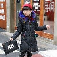 Down Jacket Girl Winter Coat Winter Long Sleeved Color Fur Collar Ribbon Hand Plug of Cotton Long Jacket 2017 New Kids Children