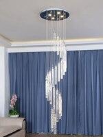 S типизированный Кристалл Длинные люстры светодиодные ленты лестницы спиральная люстра осветительный провод подвесные люстры потолочные