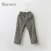 Hurave Fashion Kids Pants Boys Pants 2017 Casual Spring Child Pants Plaid Kids Casual Pants Children Trousers For Girls