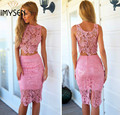 2017 women sexy lace 3pcs dresses suits see through hollow out bodycon perspective sleeveless women vestidoes plus size3 colors