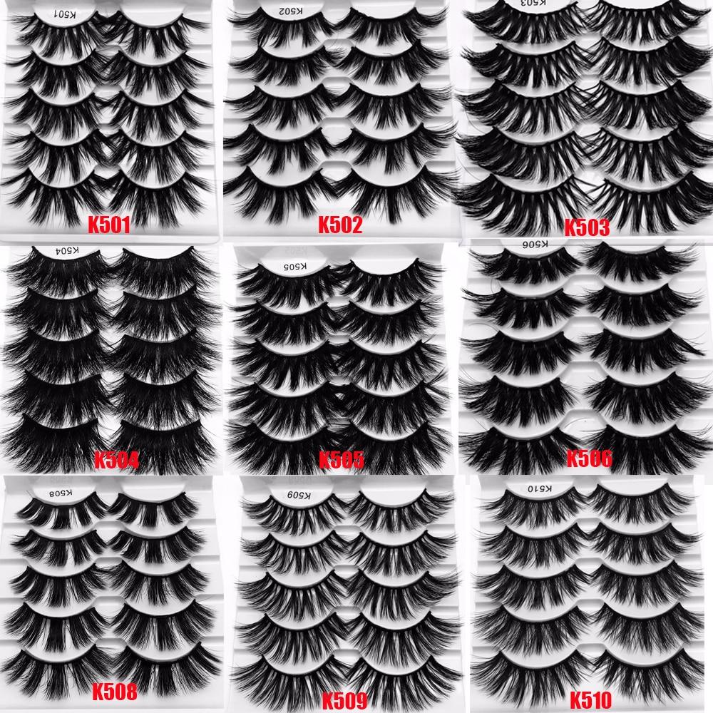 5 Pairs Multilayers 5D Mink Hair False Eyelashes Natural Long Wispies Flfuffy Eyelashes Extension Full Volume Thick Eye Makeup
