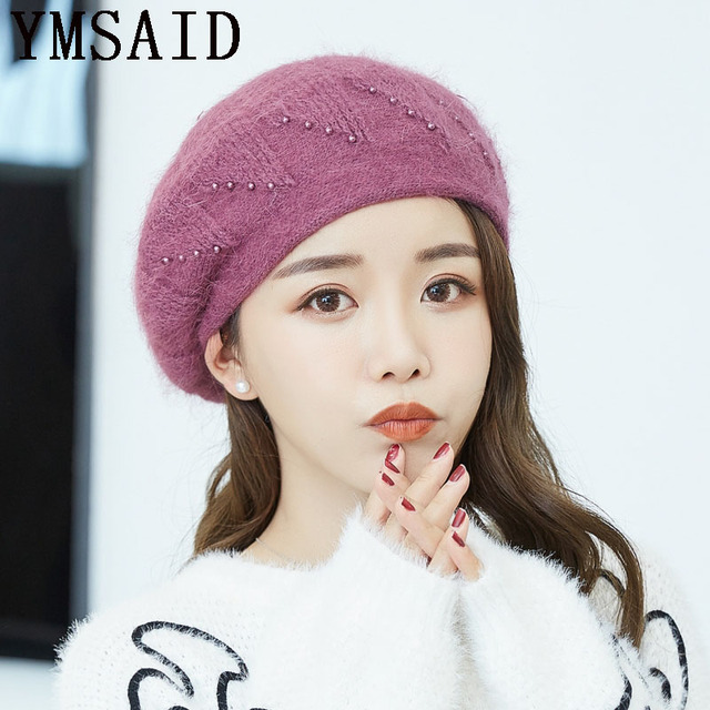 3431c465d1240 Ymsaid Winter Hats For Women Elegant Knitted Hat Fashion Rabbit Hair Berets  Women s Autumn Hat Touca Inverno Feminina Warm Cap