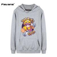 Flevans 2017 Nieuwe Merk Hoodies Streetwear voor Man Super Mario Bros Wario Grappig Gedrukt Mannen Sweatshirts Lange Mouwen Mens Hoody
