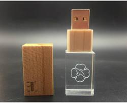 На заказ DIY 3D Cystal внутри Логотип Деревянный Кристалл Memory Stick USB 2,0 4 ГБ 8 16 ГБ USB флэш-накопитель ручка привода более 10 шт. бесплатный логотип