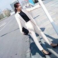 Woman suits lady suit office suit female spring and autumn casual solid color OL commercial uniform two piece suit