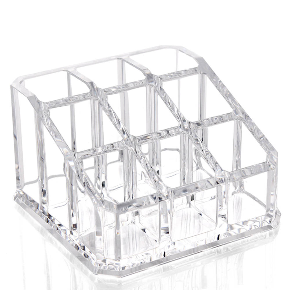 Behogar 9 Slots Transparent Acrylic Cosmetic Organizer Makeup Storage Box Nail Polish Lipstick Holder Make Up Jewelry Box
